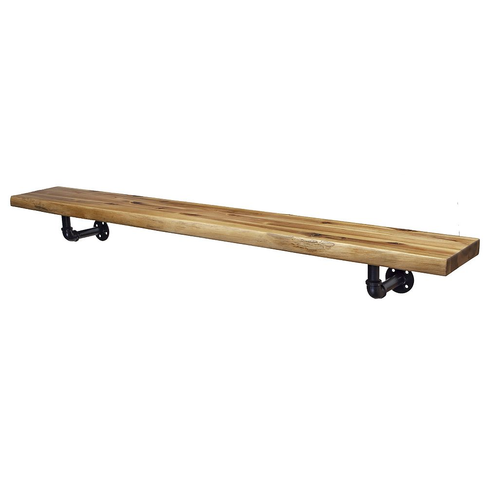 Elements 60 inch Live Edge Mantel Shelf with Metal Pipefitter  Corbels