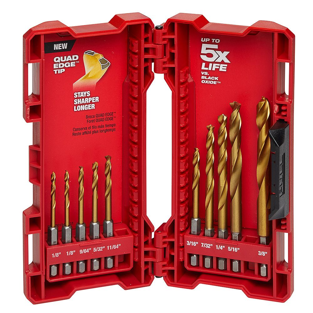 Milwaukee Tool Shockwave Impact Duty Titanium Drill Bit Set (10-Piece)