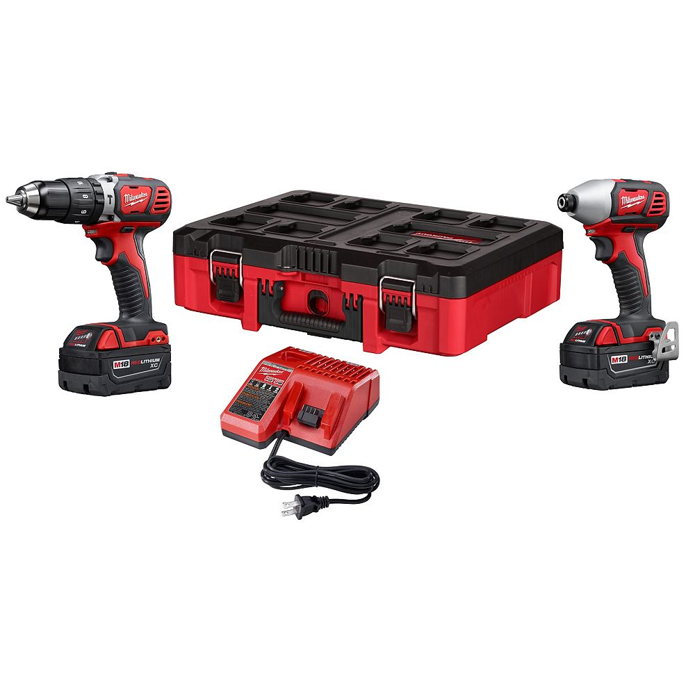 Milwaukee Tool M18 18 volts au lithium-ion sans fil Perceuse / Impact Combo Kit Driver (2-Tool)