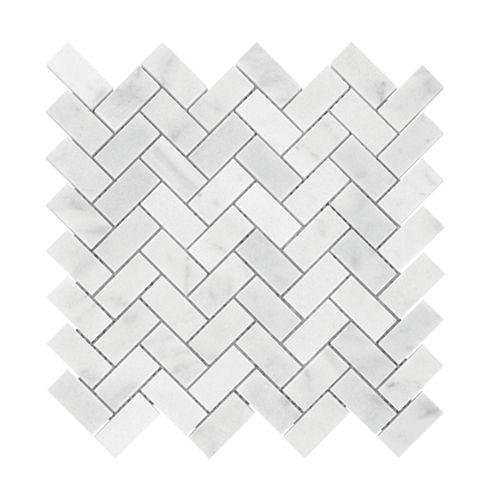 Carrara Herringbone 1-inch x 2-inch Polished Marble Mosaics
