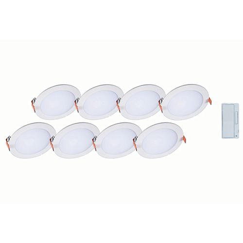 Selectable Series 6-inch Integrated LED 5-Colour (2700K to 5000K) Round Blade Light Fixture (8-Pack) with Smart Dimmer