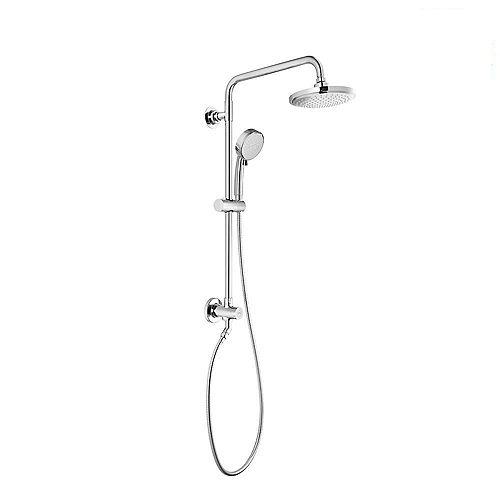 Vitalio - Pomme de douche double de 7 pouces à 5 jets et pomme de douche à main en chrome