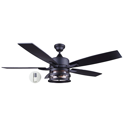Pemberton 52-inch LED Matte Black Ceiling Fan with Seeded Glass Light Kit