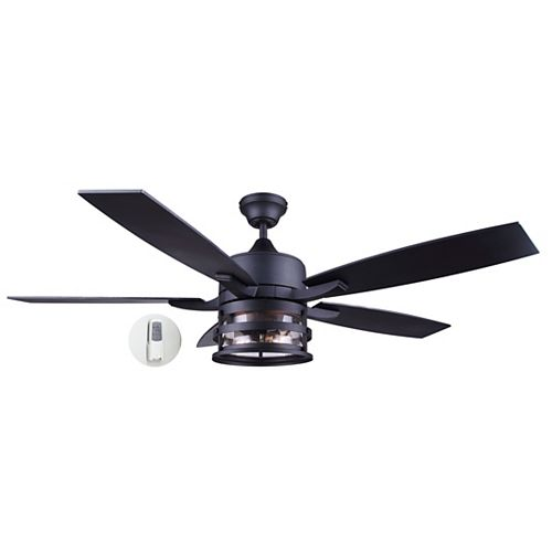 Pemberton 52-inch Matte Black Ceiling Fan with Seeded Glass, LED Light and Remote Control