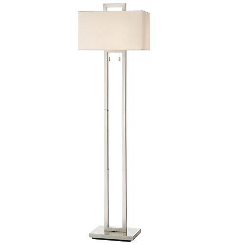 """Lampadaire à 2 lampes nickel brossé 62"""" avec abat-jour en tissu blanc"""