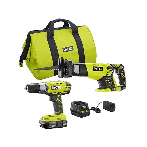 RYOBI 18V ONE+ Drill and Reciprocating Saw Kit with 2.0 Ah Battery and Charger