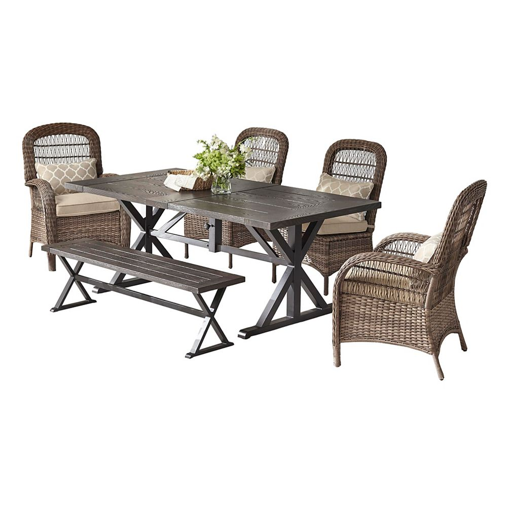 Beacon Park 9 Piece Brown Wicker Outdoor Dining Set with Toffee Cushions