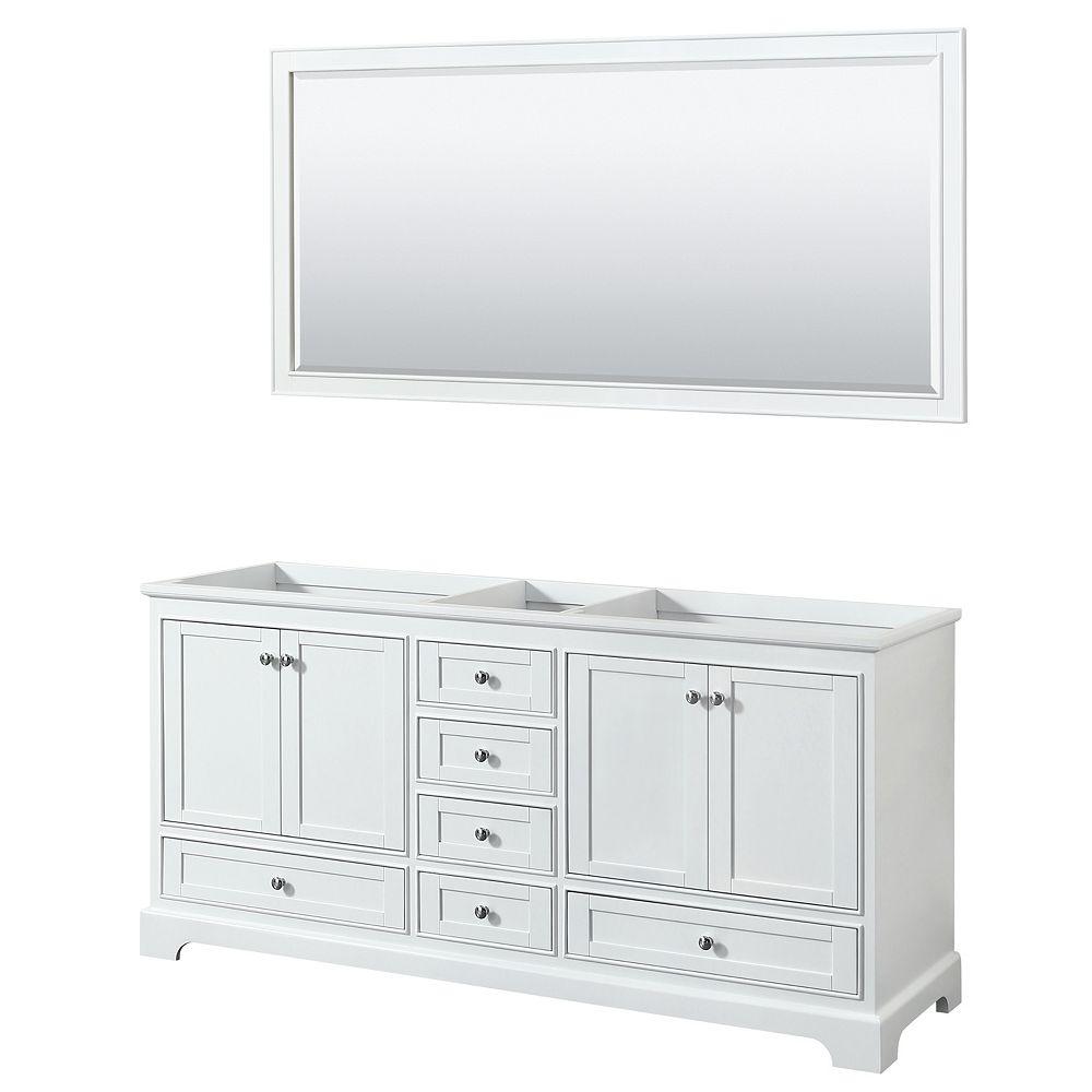 Wyndham Collection Deborah 72 Inch Double Vanity in White, No Counter, No Sinks, 70 Inch Mirror