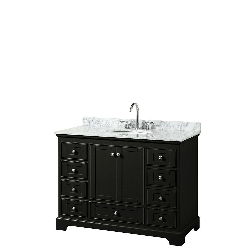 Wyndham Collection Deborah 48 Inch Single Vanity in Dark Espresso, Carrara Marble Top, Oval Sink, No Mirror