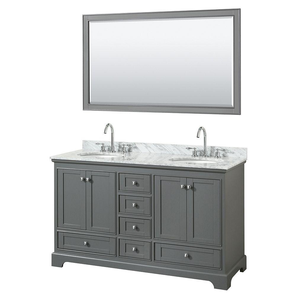 Wyndham Collection Meuble double Deborah 60 po gris foncé, comptoir marbre Carrare, éviers ovales, miroir 58 po
