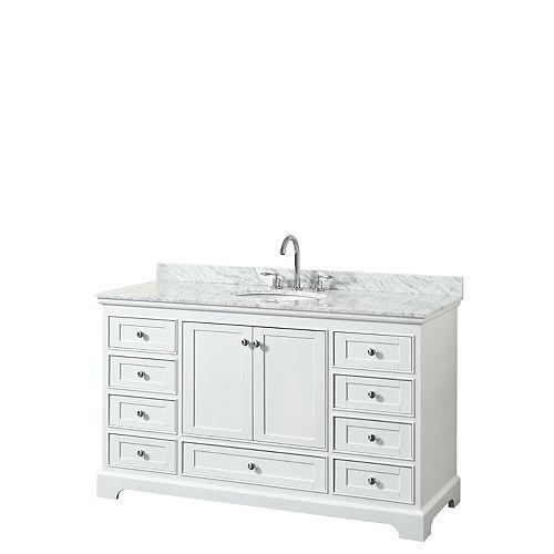 Deborah 60 Inch Single Vanity in White, Carrara Marble Top, Oval Sink, No Mirror