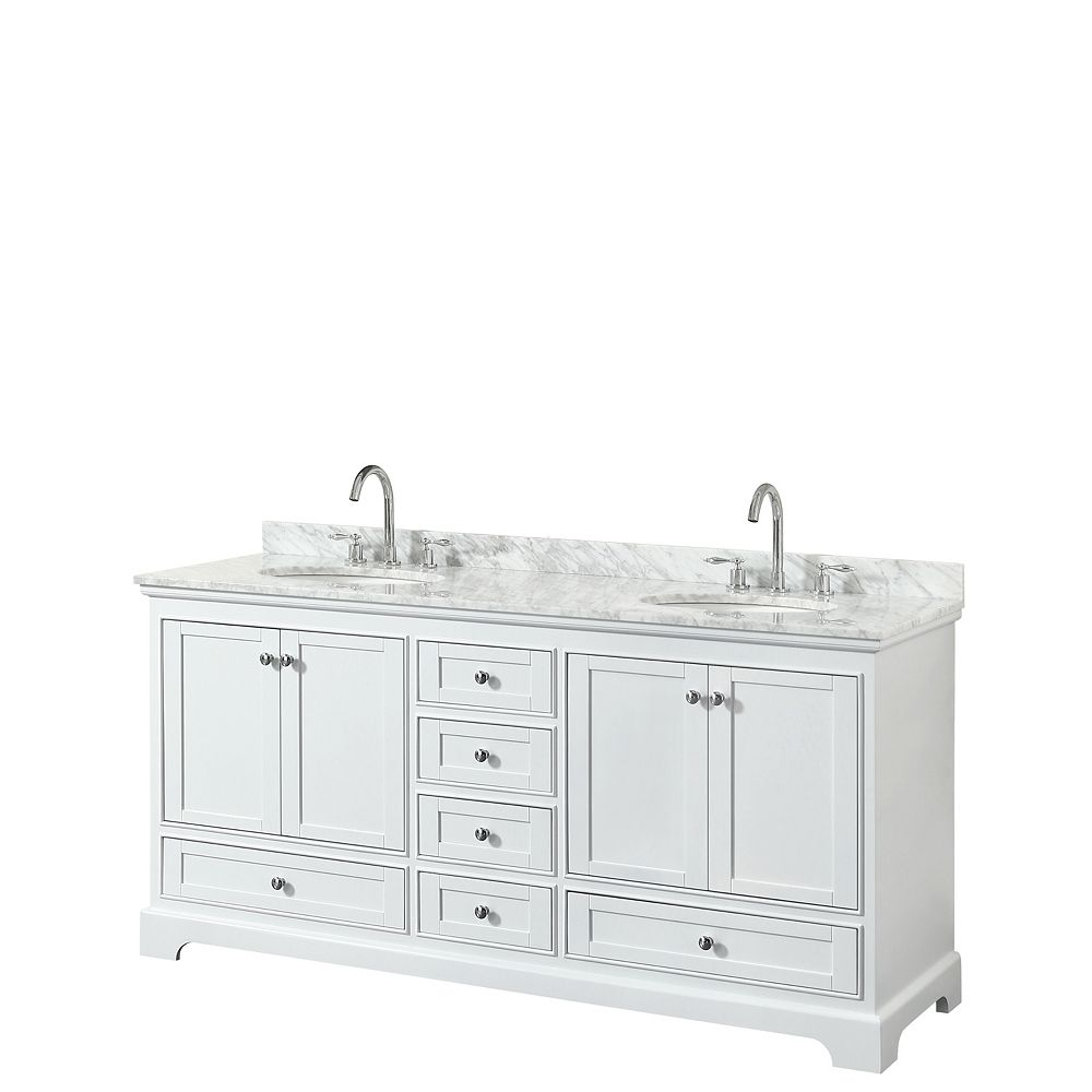 Wyndham Collection Deborah 72 Inch Double Vanity in White, Carrara Marble Top, Oval Sinks, No Mirrors