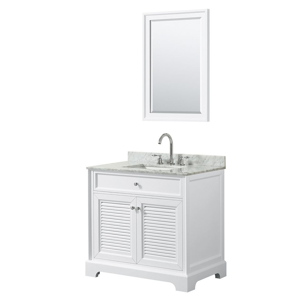 Wyndham Collection Tamara 36 inch Single Vanity in White, Carrara Marble Top, Square Sink, 24 inch Mirror