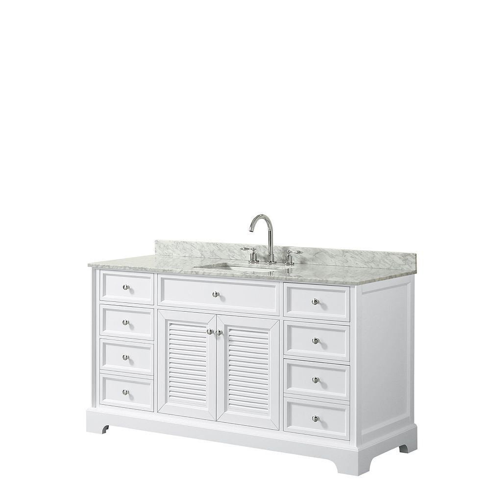 Wyndham Collection Meuble simple Tamara 60 po blanc, comptoir marbre Carrare, évier carré, sans miroir