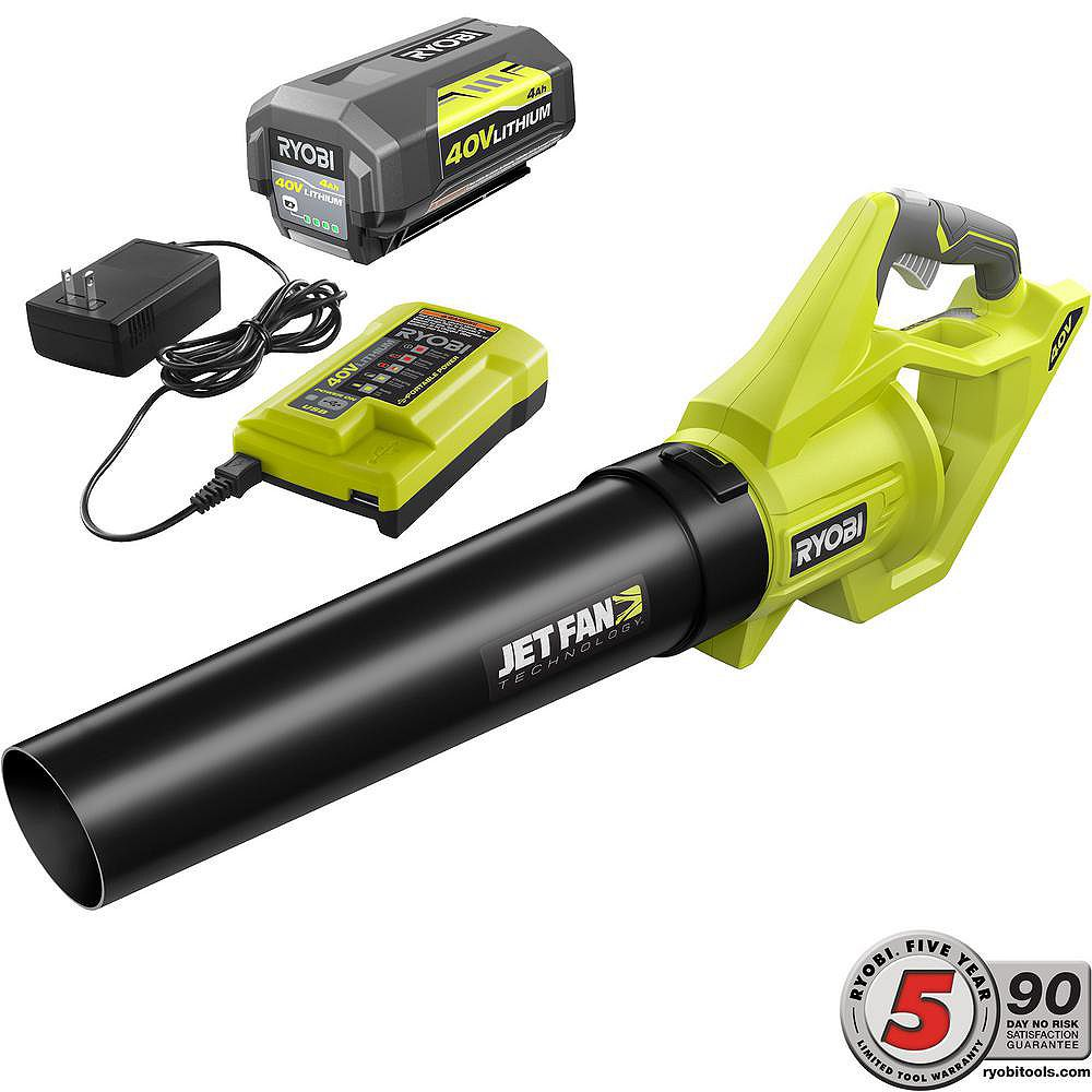 RYOBI 40V Cordless Jet Fan Blower Kit with 4AH Battery & Charger