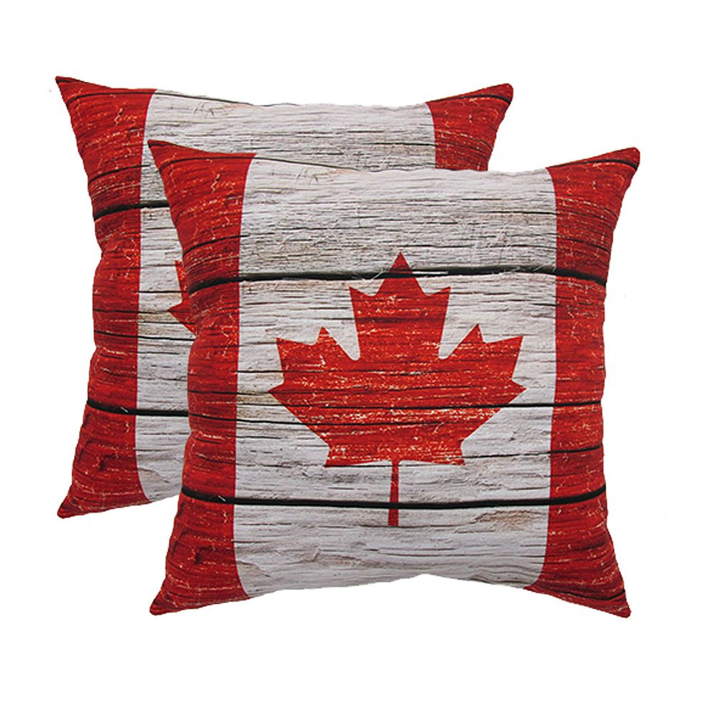 HFI 200 inch x 200 inch Wood Canada Flag Pillow 20 Pack   The Home ...