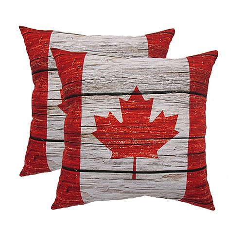 20-inch x 20-inch Wood Canada Flag Pillow (2-Pack)