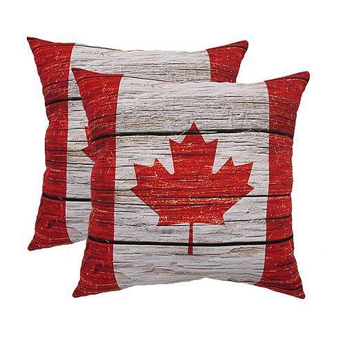 2 Pk Oreiller - Drapeau Canada 20x20 en bois