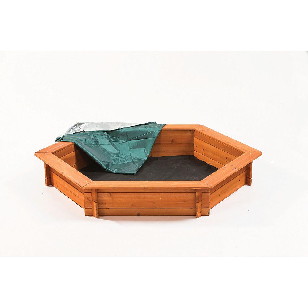 Creative Cedar Designs 5 ft. x 4 ft. Hexagonal Wooden Sandbox