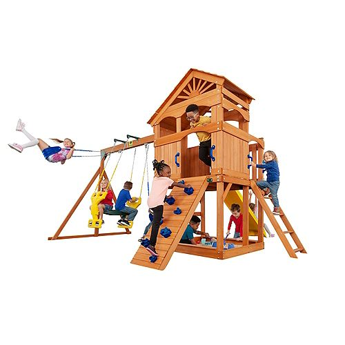 Timber Valley Wooden Playset with Blue Accessories