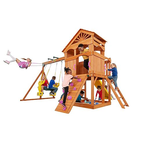 Timber Valley Wooden Playset with 20 sq. ft. of Deck and Pink Accessories