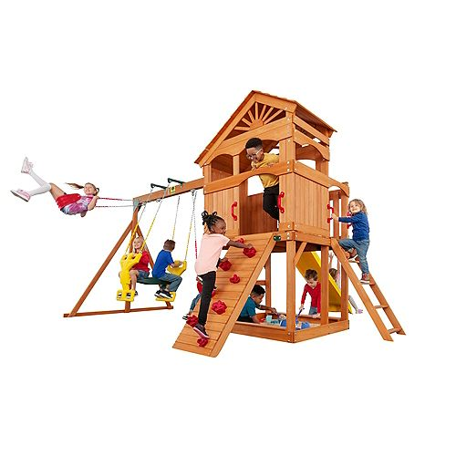 Creative Cedar Designs Timber Valley Wooden Playset with Red Accessories