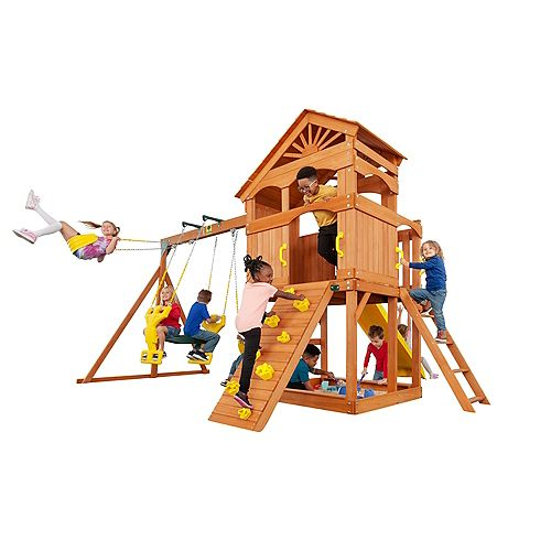 Creative Cedar Designs Timber Valley Wooden Playset with Yellow Accessories
