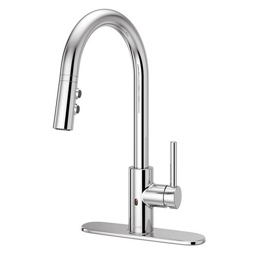 Stellen with React Kitchen Pulldown Faucet in Polished Chrome