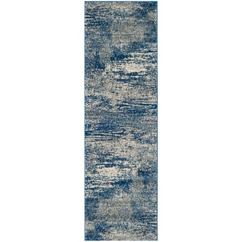 Safavieh Evoke Vita Navy / Ivory 2 ft. 2-inch x 9 ft. Indoor Runner