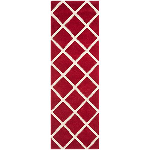 Safavieh Chatham Peter Red / Ivory 2 ft. 3-inch x 7 ft. Indoor Runner