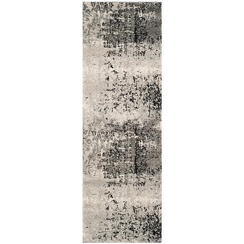 Retro Mitchell Light Grey / Grey 2 ft. 3-inch x 7 ft. Indoor Runner