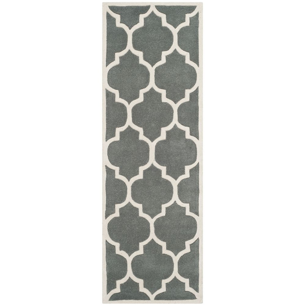 Safavieh Chatham Caprice Dark Grey / Ivory 2 ft. 3-inch x 9 ft. Indoor Runner