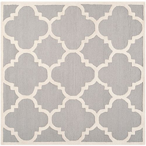 Cambridge Amias Silver / Ivory 4 ft. x 4 ft. Indoor Square Area Rug