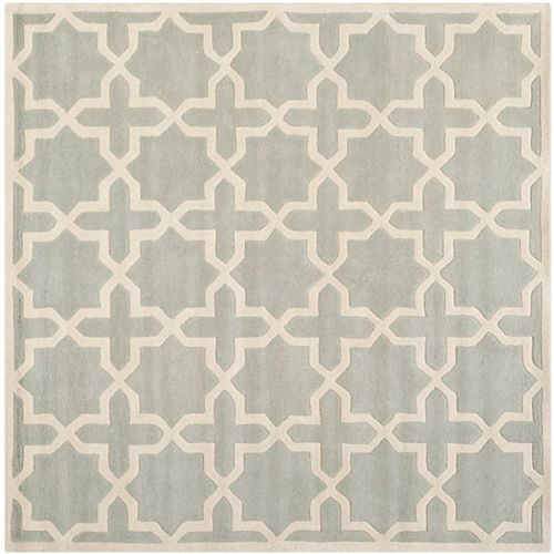 Chatham Carlton Grey / Ivory 5 ft. x 5 ft. Indoor Square Area Rug