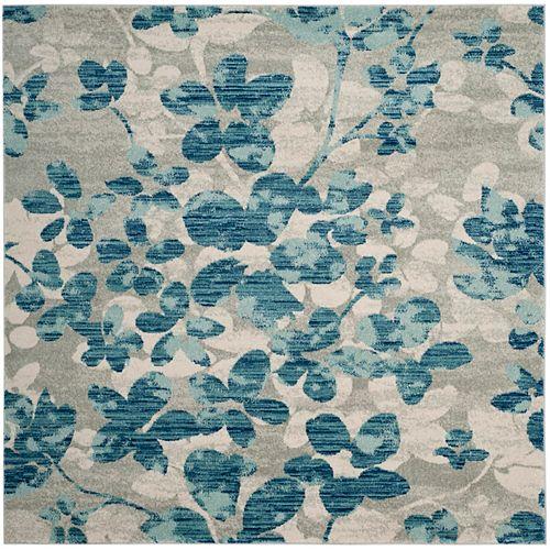 Safavieh Evoke Victor Grey / Light Blue 6 ft. 7-inch x 6 ft. 7-inch Indoor Square Area Rug