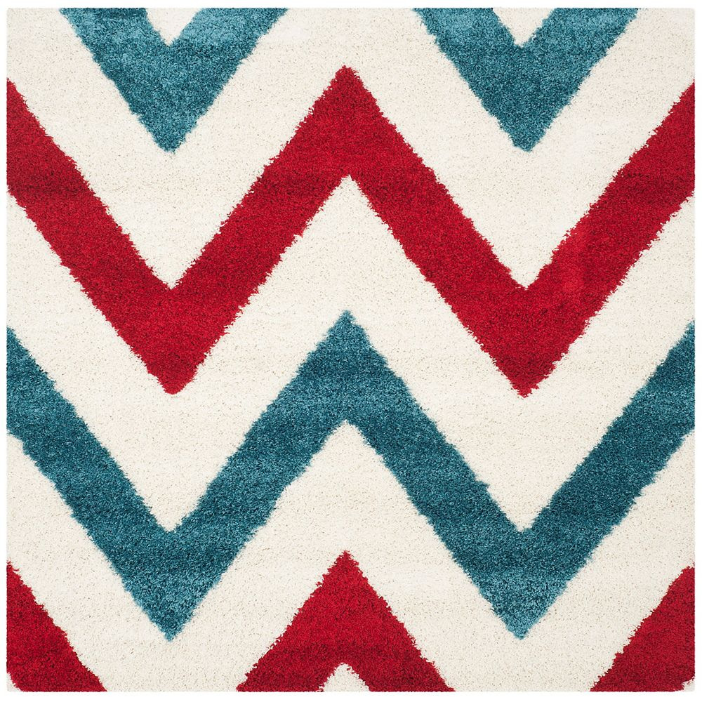 Safavieh Kids Shag Aldo Ivory / Red 6 ft. 7-inch x 6 ft. 7-inch Indoor Square Area Rug
