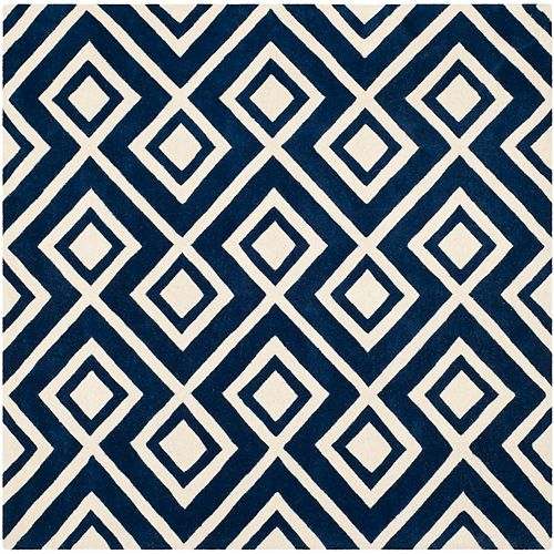 Safavieh Chatham Clyde Dark Blue / Ivory 7 ft. x 7 ft. Indoor Square Area Rug