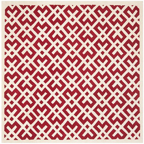 Safavieh Chatham Oakly Red / Ivory 7 ft. x 7 ft. Indoor Square Area Rug