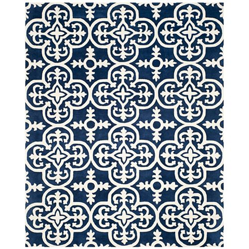Safavieh Chatham Abbot Dark Blue / Ivory 8 ft. x 10 ft. Indoor Area Rug