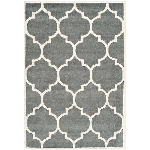 Safavieh Tapis d'intérieur, 4 pi x 6 pi, Chatham Caprice, dark gris / ivoire