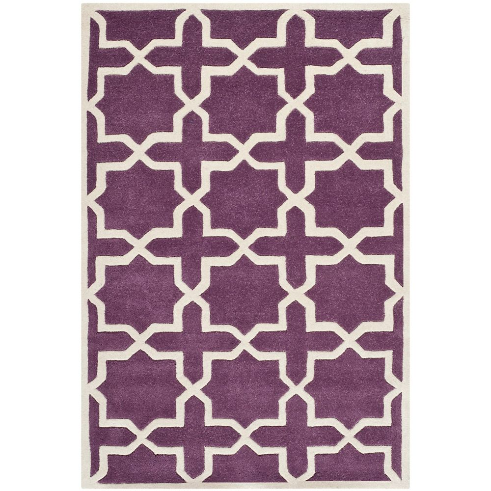 Safavieh Chatham Carlton Purple Ivory 4 Ft X 6 Ft Indoor Area Rug The Home Depot Canada