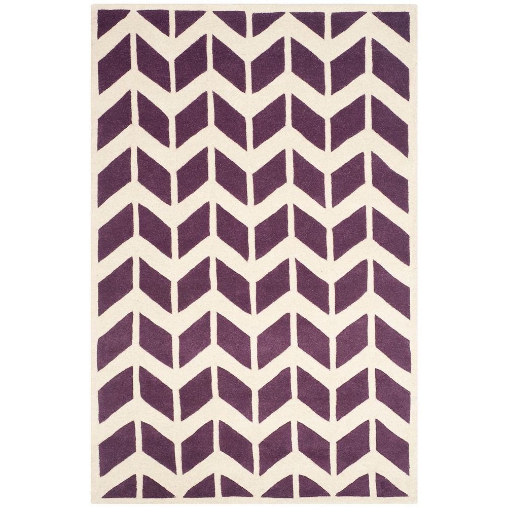 Safavieh Chatham Cecil Purple Ivory 4 Ft X 6 Ft Indoor Area Rug The Home Depot Canada