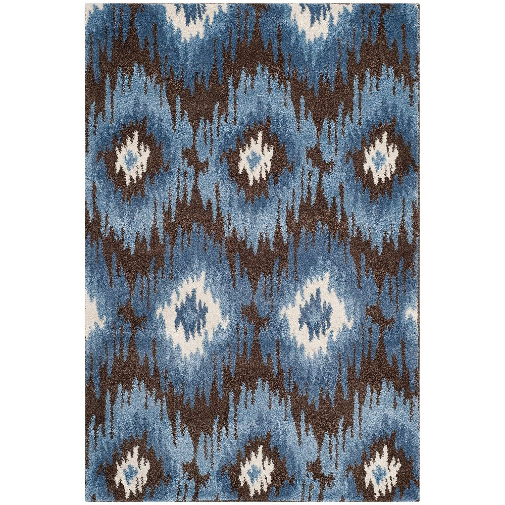 Safavieh Tapis d'intérieur, 4 pi x 6 pi, Retro Loew, brun foncé / bleu