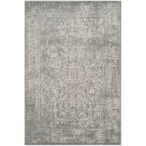 Evoke Eric Silver / Ivory 5 ft. 1-inch x 7 ft. 6-inch Indoor Area Rug