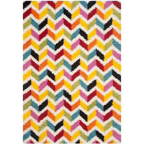 Kids Shag Alfonse Ivory / Multi 5 ft. 3-inch x 7 ft. 6-inch Indoor Area Rug