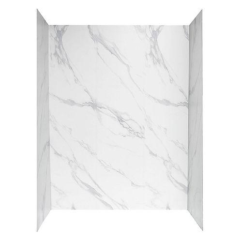 Panneau mural de douche, 60po x 32po, blanc Carrare