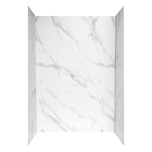 48 inch X 32 inch Shower Wall System in Carrara White