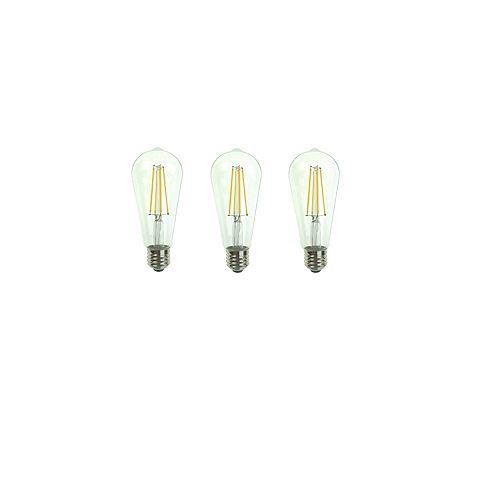 Ecosmart Ampoule DEL à intensité variable E26 ST19, 60 W, 5 000 K, lumière naturelle, transparent, ens. de 3