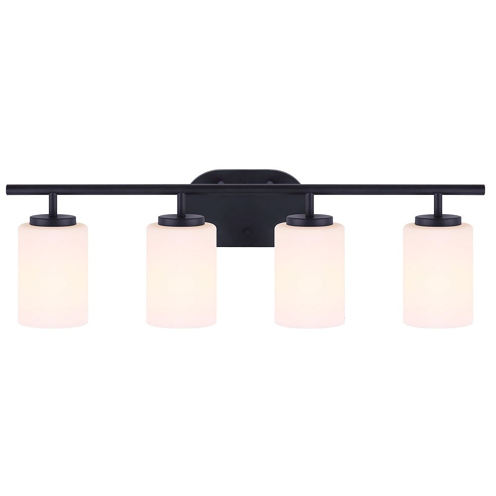 Home Decorators Collection Home Decorators Collection TATUM 4-Light Bathroom Vanity Light Fixture in Matte Black with Flat Opal Glass Shades