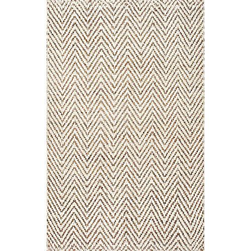 Vania Chevron Jute Off-White 4 ft. x 6 ft. Indoor Area Rug